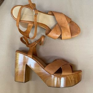 Zara Wooden Criss Cross Leather Platform Sandal